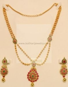 Gold Necklace - 22kt Bridal Kundan Pearl Necklace Set, Meenakari Long 22kt Gold Necklace Set, Light weight long bridal haram 22kt gold