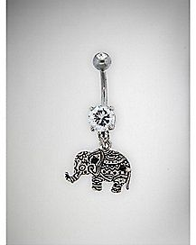 Gem Elephant Dangle Belly Ring - 14 Gauge