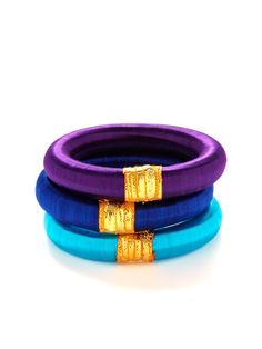 Set of 3 Royal Bhangra Bangle Bracelets by Rosena Sammi at Gilt