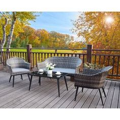 Garden Sofa Sets You'll Love | Wayfair.co.uk Rattan Corner Dining Set, Dining Sofa, Metal Garden Furniture, Outdoor Furniture Sets, Outdoor Decor, 5 Seater Corner Sofa, Reclining Sun Lounger, Pergola, Garden Sofa Set