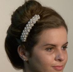 A must have for your special occasion! A beautiful gold, #pearl #barrette with Swarovski crystals. This large barrette is designed to pull back longer hair or a large amount of #hair, and keep it secure. Also avaiable is value packs of six. #hairstyles #accessories #wedding
