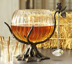 I wish I could justify purchasing this Owl Tree Punch Bowl Stand with Ladle from Pottery Barn - too cute for Halloween/fall!