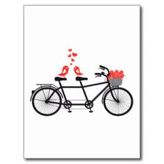 bicyclette tandem avec les inséparables mignons cartes postales