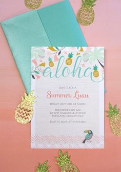Luau Party Invitations by lia griffith Hawaiian Invitations, Luau Party Invitations, Hawaiian Birthday, Luau Birthday, 13th Birthday, Birthday Parties, Tropical Party, Colorful Party, Hawaian Party