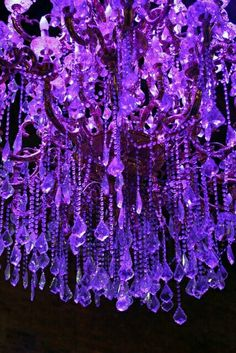 Light up the purple crystals Purple Love, Purple Lilac, All Things Purple, Shades Of Purple, Deep Purple, Red And Blue, Purple Stuff, Purple Chandelier, Beaded Chandelier