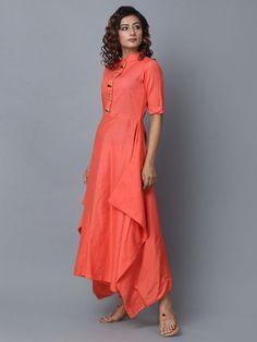 Buy Peach Cotton Linen Asymmetric Dress online at Theloom Abaya Fashion, Fashion Dresses, New Designer Dresses, Kurta Neck Design, Dress Neck Designs, Ethnic Dress, Beige, Kurta Designs, Western Dresses