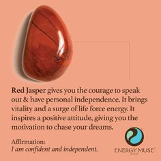 A Red Jasper Stone is a powerful protection and stability gemstone. Red Jasper Stones inspire a positive attitude, increasing your motivation and energy level to help you take action in your life. It is one of the best root chakra stones. Crystals Minerals, Crystals And Gemstones, Stones And Crystals, Gem Stones, Chakra Crystals, Story Stones, Healing Gemstones, Crystal Healing Stones, Crystal Magic