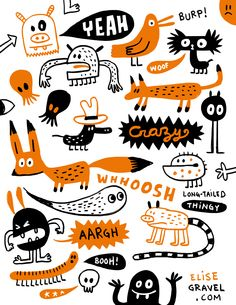 Fun doodles by Elise Gravel 😃 Illustration Book, Illustration Tattoo, Monster Illustration, Character Illustration, Illustrations, Technical Illustration, Kritzelei Tattoo, Doodle Tattoo, Doodle Art
