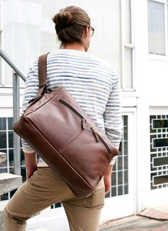 Items similar to Brown Leather Shoulder Bag, Handmade Satchel Men,  Crossbody Messenger Travel Laptop Computer Carry On Courier. 7800fb9ce8