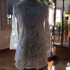 ✨HOST PICK✨5/29 ~ lace tunic✨ So cute to throw on over a dress👗or colored tank Maurices Tops Tees - Long Sleeve