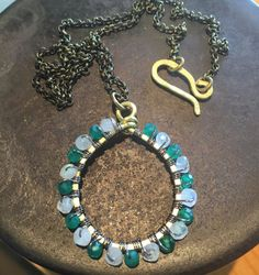 Green Onyx Moonstone Brass Hoop Necklace by FerylDesigns on Etsy