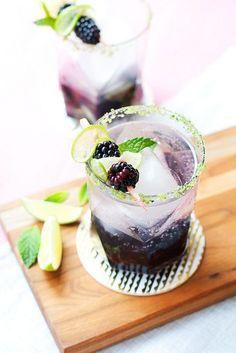 Blackberry Ginger Smash, purple signature cocktail for wedding Good Food Image, Lime Tea, Benefits Of Berries, Ginger Syrup, Cordon Bleu, Cocktail Recipes, Cocktails, Fun Drinks, Blackberry