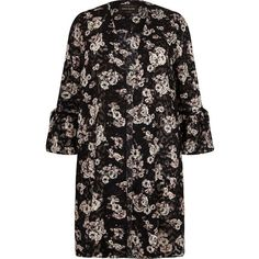 River Island Plus black floral print duster coat (490 CNY) ❤ liked on Polyvore featuring outerwear, coats, jackets, floral print coats, river island coats, long coat, plus size long coats and open front coat