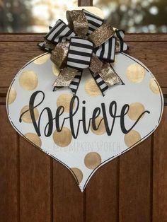 Items similar to Christmas door hanger/ornament door hanger/ black and white Christmas decor on Etsy Gold Christmas, Christmas Signs, Xmas Crafts, Wooden Christmas Crafts, Paper Crafts, Christmas Door Decorations, Christmas Wreaths, Diy Wooden Projects, Halloween Door Hangers