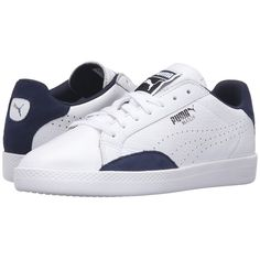 PUMA Match Lo Basic Sports (Puma White/Peacoat) Women's Shoes ($65) ❤ liked on Polyvore featuring shoes, athletic shoes, breathable shoes, puma shoes, white lace up shoes, sport shoes and sports footwear