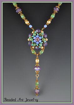 Flower Beadwoven Beaded Beadwork Necklace by beadedartjewelry