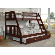 Donco Kids Twin Over Full Bunk Bed with Twin Trundle Bed