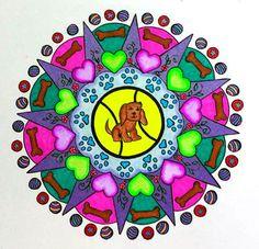 Dog Mandala Coloring Page for Grown Ups - Puppy - Coloring - Hand Drawn Image