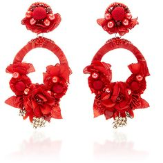 Ranjana Khan Red Large Floral Drop Earrings (565 015 LBP) ❤ liked on Polyvore featuring jewelry, earrings, red, floral jewelry, drop earrings, ranjana khan, red statement earrings and statement earrings