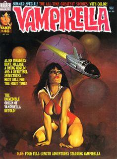 VAMPIRELLA (issue #46-October 1975) Cover art by Ken Kelly.