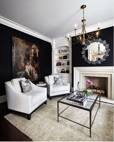 Beautiful Black And White Interior Design Living Room Décor Ideas 02 Black And White Living Room Decor, Dark Living Rooms, Black And White Interior, White Interior Design, Paint Colors For Living Room, Formal Living Rooms, Interior Design Living Room, Living Room Designs, Dark Brown Furniture