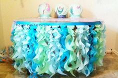 Under the Sea table skirt or photo backdrop tissue tentacles satin ribbon for ocean party or photo shoot Aqua mint turquoise ruffle skirt Under The Sea Theme, Under The Sea Party, Beach Centerpieces, Octonauts Party, Cool Glow, Flower Template, Ocean Themes, Mermaid Birthday, 5th Birthday