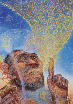 Alex Grey Psychedelic Painting Art Gallery Origin of Language Psychedelic Spirit Paintings, Alex Grey Art Gallery the stoned ape theory Art Gallery, Alex Grey Paintings, Alex Gray Art, Spiritual Art, Grey Artwork, Painting, Spirited Art, Visionary Art, Grey Art