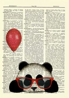 Panda-Red-Balloon-Glasses-Dictionary-Curious-Art-Print-Poster-Picture-Book-OOAK