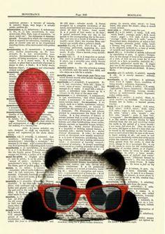 Details about Panda Red Balloon Glasses Dictionary Curious Art Print Poster Picture Book OOAK - - Newspaper Drawing, Newspaper Painting, Art Drawings For Kids, Art Drawings Sketches, Book Page Art, Book Art, Panda Drawing, Images Kawaii, Panda Art