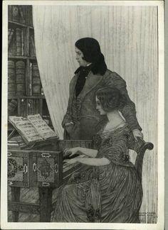 Drawingof Robert and Clara Schumann