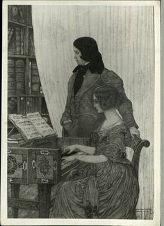 Drawing of Robert and Clara Schumann