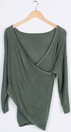 Soft, long sleeve lightweight top with cross front, V neckline. This sweater fits slightly loose. Wear it over your leggings and with your boots for a pretty look with low effort!