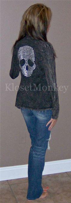 Skull studded knit cardigan