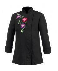 Chaqueta CHEF de mujer BLACK FLOWERS - EGO CHEF 104058