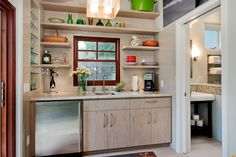 A kitchenette could be described as a tiny kitchen. It's often a part of motel or hotel rooms, small apartments, Kitchen Shelf Design, Kitchen Shelves, Kitchen Storage, Kitchen Cabinets, Kitchen Appliances, Kitchen Layout, Storage Cabinets, Open Cabinets, Pantry Storage