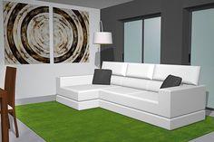 El amplio sofá con cheslong que tenemos ubicado enfrente de los dos grandes ventanales que hay en el salón ya que queríamos colocar el sofá en un sitio diferente a lo habitual, para darle un poco de color a este salón hemos puesto esta alfombra en color verde de Nanimarquina la cual nos da bastante vida, también tenemos una bonita y amplia lámpara cuya pantalla la tenemos enfocada hacia el sofá donde podemos tener un punto de luz.