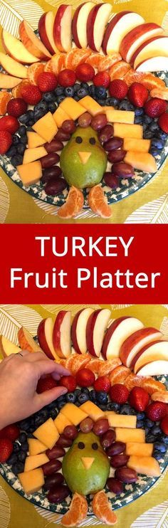 This Thanksgiving turkey fruit tray is amazing! Use this turkey fruit platter as a Thanksgiving appetizer or dessert! Thanksgiving Fruit, Thanksgiving Parties, Thanksgiving Appetizers, Thanksgiving Recipes, Holiday Recipes, Holiday Desserts, Thanksgiving Sides, Turkey Fruit Platter, Fruit Trays