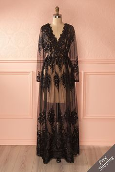 Ariadna - Black lace maxi gown with see-through mesh www.1861.ca