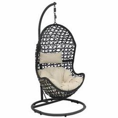 Sunnydaze Decor Cordelia Wicker Indoor/Outdoor Hanging Egg Patio Lounge Chair with Stand and Beige Cushions Wicker Porch Swing, Egg Swing Chair, Hanging Egg Chair, Patio Swing, Hammock Chair, Hammock Stand, Swinging Chair, Diy Chair, Hanging Hammock