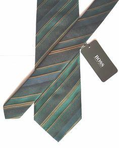 d1bc0829 Details about HUGO BOSS 100% Silk Tie Woven Jacquard Contrasting Diagonal  Stripes Green/Bronze