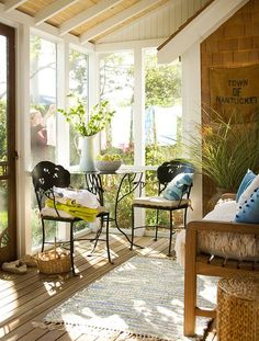 Love This Cozy Porch Space. Make The Most Of A Small Porch With Slender  Furniture. A Small Bistro Table And Chairs Set Adds Functional Seating To  This ...