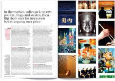 Shanghai spread from the January 2015 issue Magazine Layout Design, Magazine Layouts, Magazine Spreads, Time Magazine, The Sunday Times, Travel Magazines, Art Director, Editorial Design, Time Travel