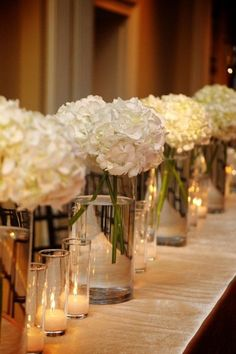 Hydrangeas and Votives - pretty decoration