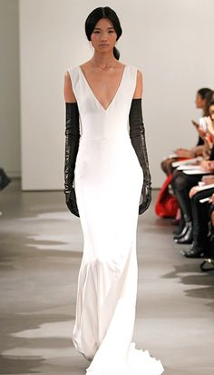 Vera Wang Spring 2014 Wedding Dresses: Sleeveless v-neck silk crepe sof mermaid gown