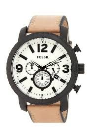 FOSSIL WATCH Mod. BQ2051 GENT QUARTZ CHRONOGRAPH SS CASE LEATHER STRAP 50mm WR 5ATM   Watche.s