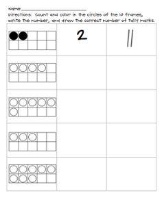 Tally Assessment Worksheet (free; from Preschool Wonders)