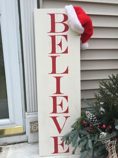 Believe wood sign outdoor sign christmas decor by KCwooddesigns