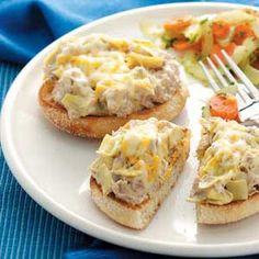 Tuna Artichoke Melts.  This recipe is delicious, simple, cheap, and a good fish option even for those who aren't normally fish eaters.