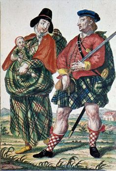Highland Soldier and his wife 1740s by Martin Engelbrecht. The woman is shown…