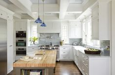 Deep beam ceiling, flush inset cabinets